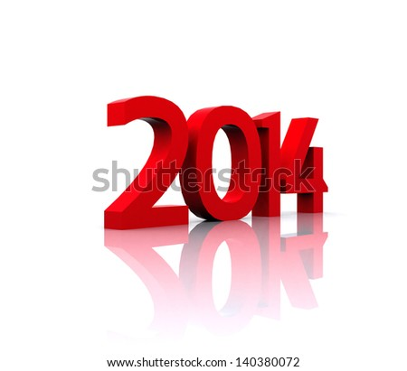 Here comes the new year ... 2014 - stock photo