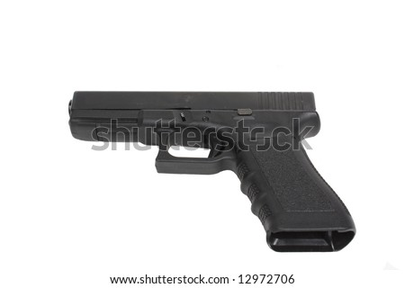 Here is a .40 caliber handgun isolated on white background - stock photo