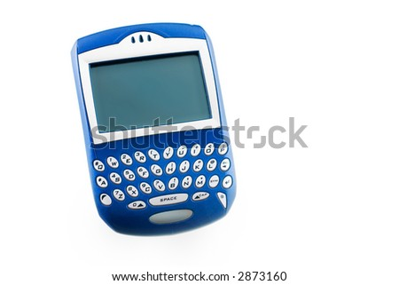 here is a non branded handheld pda blackberry, wireless device, secluded on a white ground. - stock photo