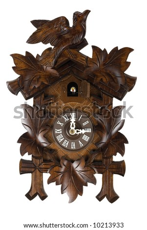 Here is a picture of a wooden German Cuckoo clock isolated on white
