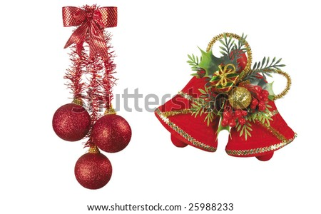 Here you can see nice Christmas candle and nice bells - stock photo