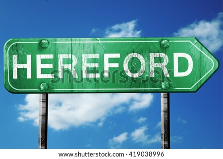 Hereford, 3D rendering, a vintage green direction sign
