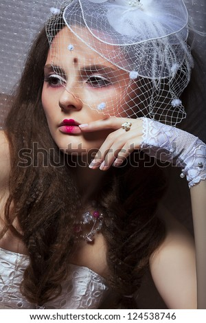 Heritage. Beautiful Fashionable Woman in White Retro Veil - Romance style