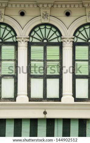 Heritage Windows, George Town, Penang, Malaysia - stock photo