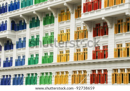 Heritage Windows, Singapore - stock photo