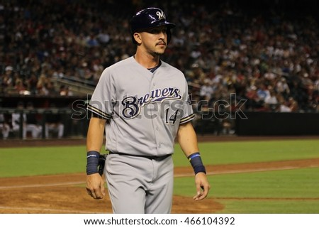 Herman Perez infielder for the Milwaukee Brewers at Chase Field in Phoenix AZ USA 8,5,2016.