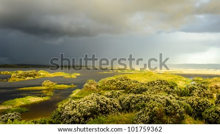 Hermanus Lagoon after a flood - stock photo