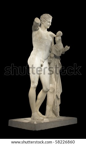 Hermes and Dionysus, ancient classical Greek statue of Hermes of Praxiteles (museum of ancient Olympia, Greece) - stock photo