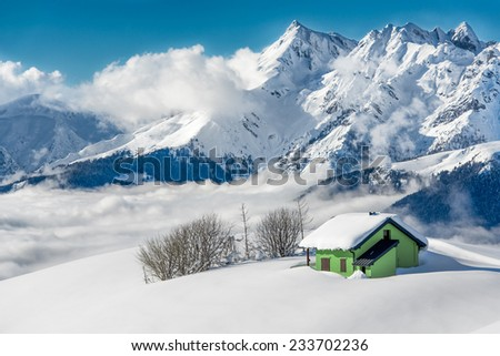 hermitage isolated in the snow - stock photo