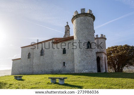 Hermitage of the Virgin of the Guide of Llanes, Asturias, Spain - stock photo