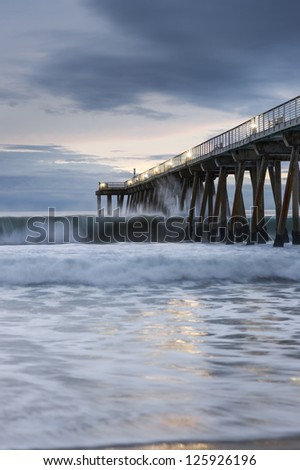 Hermosa Beach Dramatic Sunset - stock photo