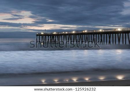 Hermosa Beach Dramatic Sunset - stock photo