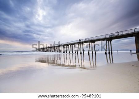 Hermosa Beach Pier Stormy Sunset - stock photo