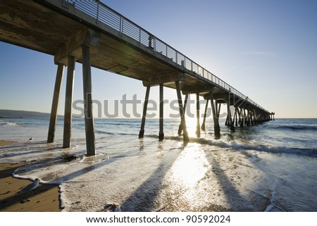 Hermosa Beach Pier Sunset - stock photo