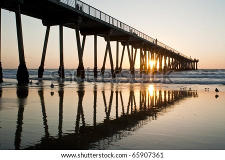 Hermosa Beach Pier Sunset Reflections - stock photo
