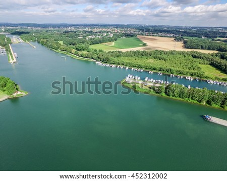 Herne Marina and lock under the sun, aerial