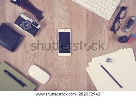 Hero header image of office desk in vintage look - stock photo