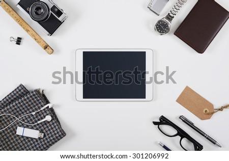 Hero header tablet pc mockup - stock photo