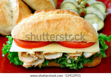 Hero Turkey Sub Sandwich with condiments in background. - stock photo