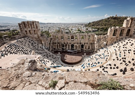 Herodes Atticus amphitheater for public performances of music and poetry, below on the Acropolis, Athens, Greece