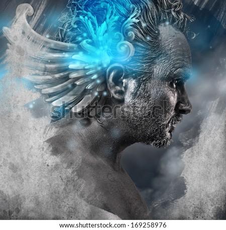 Heroe, mythology, Man with black shapes, studio portrait - stock photo