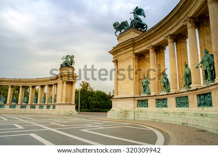 Heroes Square Budapest in morning-Hungary - stock photo
