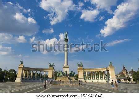 Heroes Square in Budapest,Hungary - stock photo