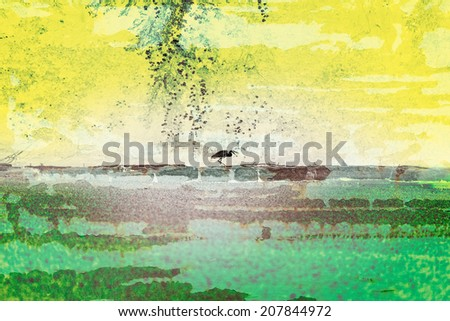 Heron on a wall with texture and color - stock photo