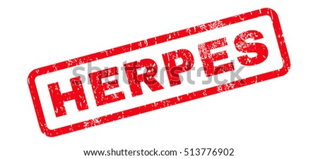 Herpes Text rubber seal stamp watermark. Tag inside rectangular banner with grunge design and unclean texture. Slanted glyph red ink sign on a white background.
