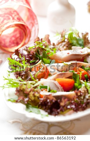 Herring salad for christmas - stock photo