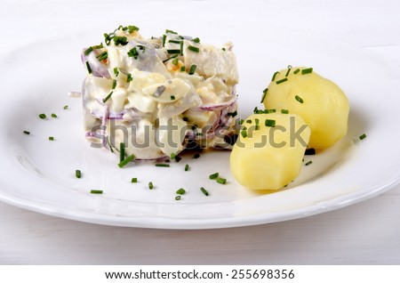herring salad with lilac onion and jacket potatoes  - stock photo