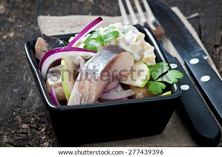 Herring salad with onion and green apple - stock photo