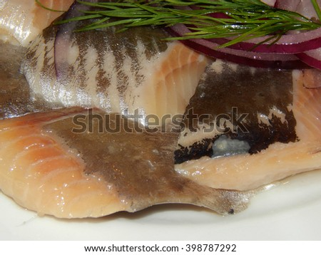 Herring with onion and vinegar - stock photo
