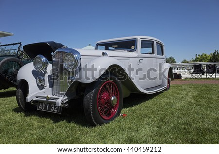 HERSHEY, PA, USA-JUNE 12, 2016:  1934 Bentley 3.5-Litre Sports Saloon by Barker on display at The Elegance at Hershey.  It is the only known Bentley sports saloon with Barker coachwork. - stock photo