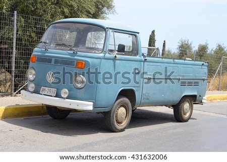 HERSONISSOS, GREECE - 29 MAY 2016: Volkswagen T2 on street of Hersonissos. First minivan and a second civilian vehicle Volkswagen. It is produced from 1967 to 1979. - stock photo
