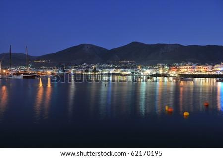 Hersonissos ,night view of Crete harbor - stock photo