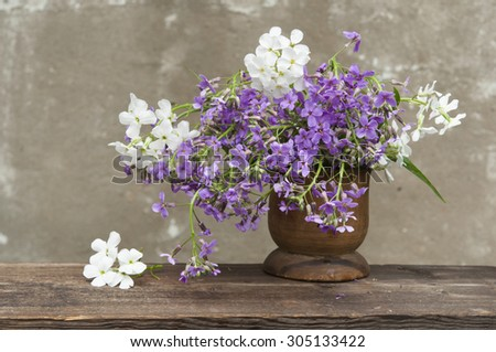 Hesperis matronali flowers at wooden vase