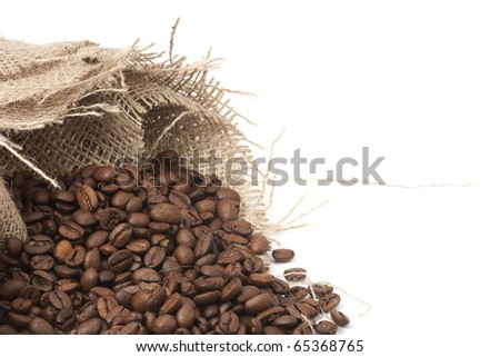 hessian and coffee beans - stock photo