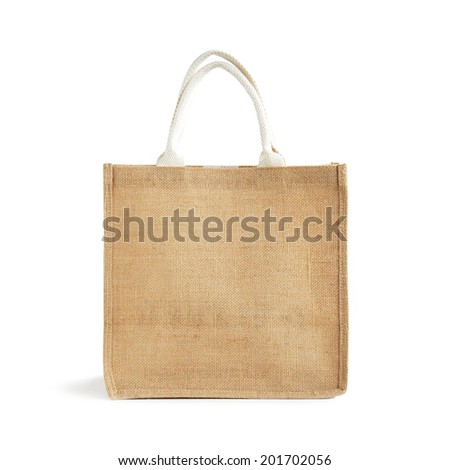 Hessian or Jute bag with loop handles - isolated on white background