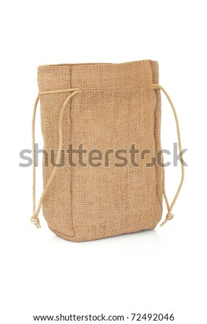 Hessian sack with ties  forming over white background. - stock photo