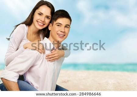 Heterosexual Couple, Young Couple, Cheerful. - stock photo