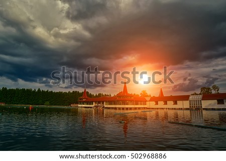Heviz Thermal Lake of Hungary at Sunset