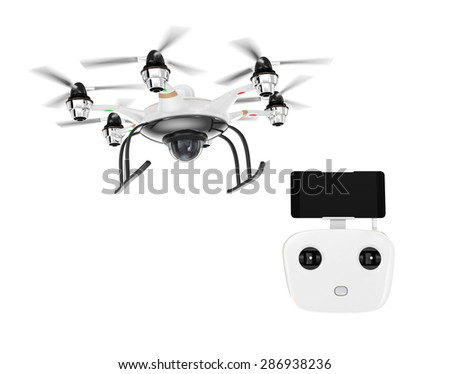 Hexacopter and remote controller isolated on white background. RC controller docking with smartphone. Clipping path available. - stock photo