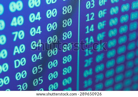 Hexadecimal program code background - stock photo