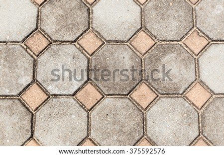 hexagon and square on the floor  - stock photo