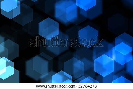 hexagon bokeh background, blue over black - stock photo