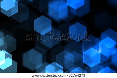 hexagon bokeh background, blue over black - stock photo