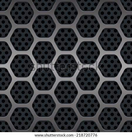 Hexagon Metal Grill Seamless Background. illustration - stock photo
