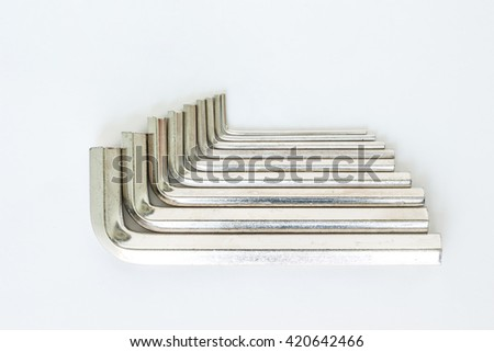 hexagon tool allen wrench set repair fix on white background
