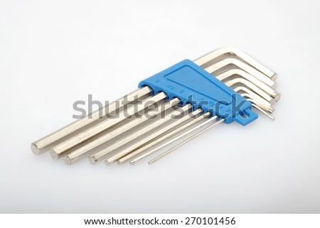 Hexagon wrench set on white background  - stock photo